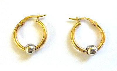 9ct Yellow Gold Hoop With Sliding White Bead Available In Three Sizes