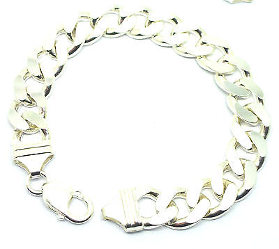 925 Sterling Silver Solid Gents Bevel Edge Curb Bracelet                    7615