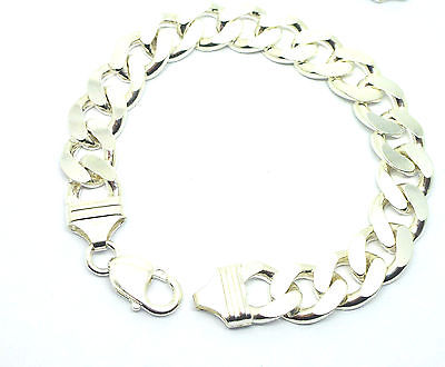 925 Sterling Silver Solid Gents Bevel Edge Curb Bracelet                    7631