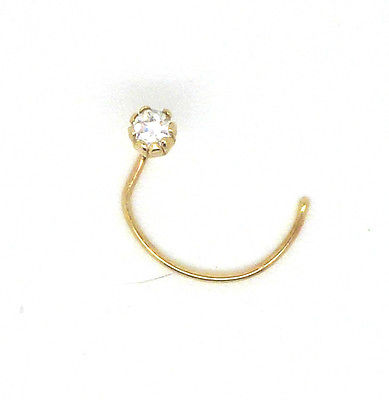 9ct Gold Claw Set Nose Stud with  2mm Cubic Zirconia or Real Sapphire      66111