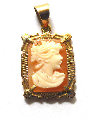9ct Gold Hallmarked Rectangular Fancy Real Cameo Pendant with Fancy Border 90191