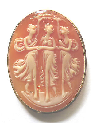 9ct Gold Hallmarked Three Graces Cameo Brooch/ Pendant                     90218