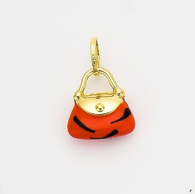 9ct Gold Handbag Charm with Animal Print  Enamel Finish               A32236