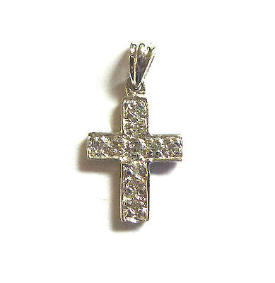 9ct Tiny Gold Cross with Pave set Diamonds                              A96680/2