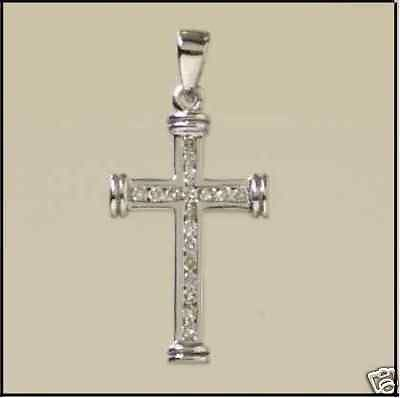 9ct White Gold and Diamond Cross                                          A96761