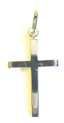 9ct  White Gold Plain Solid Cross                                        A70203