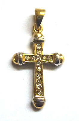9ct Yellow and White Gold and Diamond Cross                              A96905