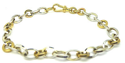 9ct Yellow and White Gold Oval and Circle Link Bracelet