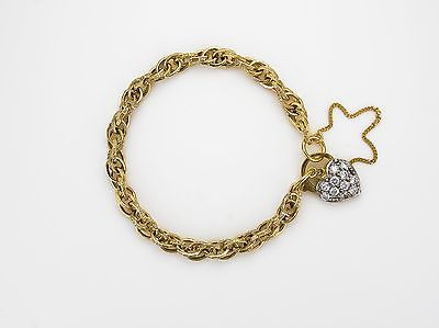9ct Yellow  Charm Bracelet with Cubic Zirconium Set Heart Padlock        A19882