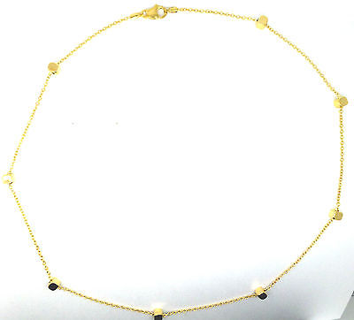 9ct Yellow Gold 16 inch Trace Chain with Solid Cube Beads                  09120