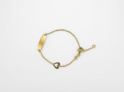 9ct Yellow Gold  Childs Identity Bracelet with Heart                     A19560