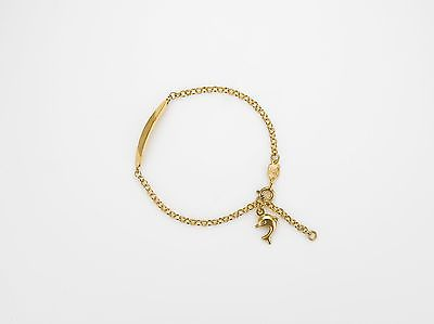 9ct Yellow Gold  Childs Identity Bracelet with Small Dolphin Charm       A19553
