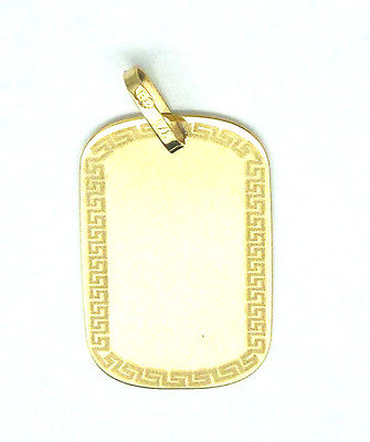 9ct Yellow Gold Dog Tag  Pendant with Greek Key Design Border               2791
