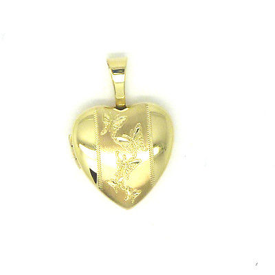 9ct Yellow Gold Heart Shaped Locket with Butterfly Etchings                 2081