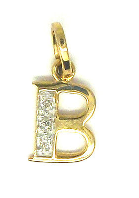 9ct Yellow Gold Initial Pendant Set with Real Diamonds