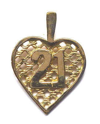 9ct Yellow Gold Lattice Heart Pendant with 21 Motif                        90662