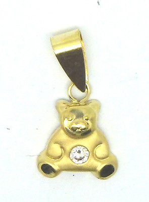 9ct Yellow Gold Teddy Bear Pendant / Charm with Cubic Zirconia              6044