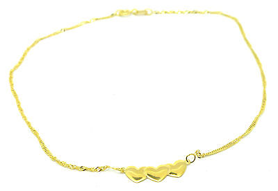 9ct Yellow Gold Twist Curb Anklet/ Ankle Chain with Three Hearts Motif      1814