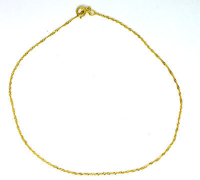 9ct Yellow Gold Twisted Curb Ankle Chain / Anklet                           0464