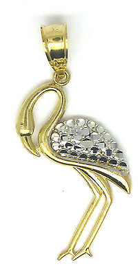 9ct Yellow Gold Two Tone Pretty Flamingo Pendant                            1571