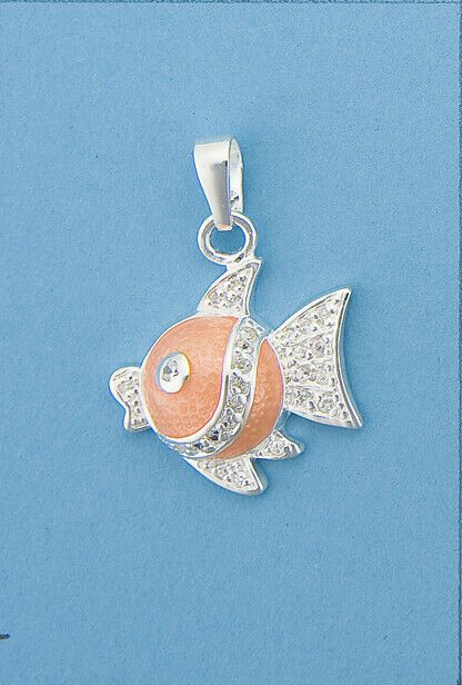 Genuine 925 Sterling Silver Crystal and Enamel Angel Fish Pendant in 2 diff cols