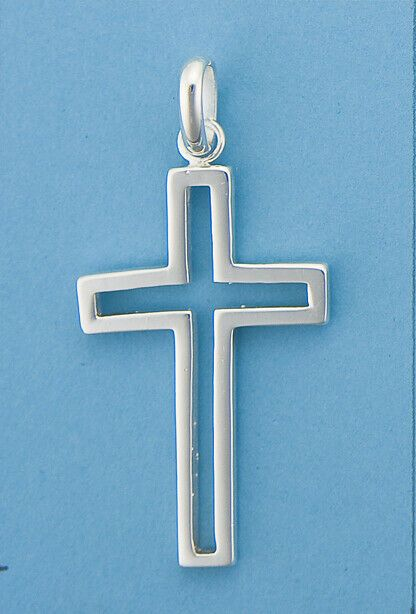 Genuine 925 Sterling Silver Cutout Plain  Polished Cross Pendant Mens/ Womens