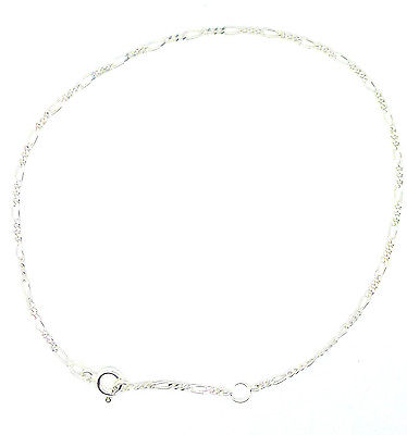 Sterling Silver 3 + 1 Figaro Chain  Link  Ankle Chain /Anklet               0749