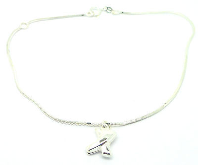 "Sterling Silver 925 10"" Cobra Chain Ankle Chain /Anklet with Sliding  Kiss Drop"