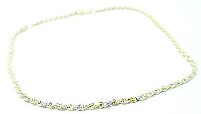 "Sterling Silver 925 10"" Solid Rope Ankle Chain /Anklet                      1193"