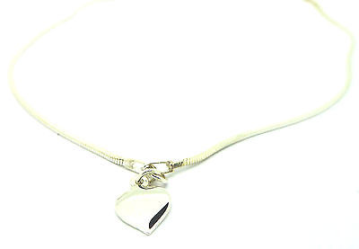 "Sterling Silver 925 10.5"" Cobra Chain Ankle Chain /Anklet with Heart Drop  15261"