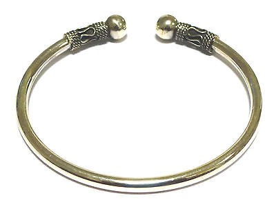 Sterling Silver 925 Bali Style Torq Bangle with 8mm Beads                   4430