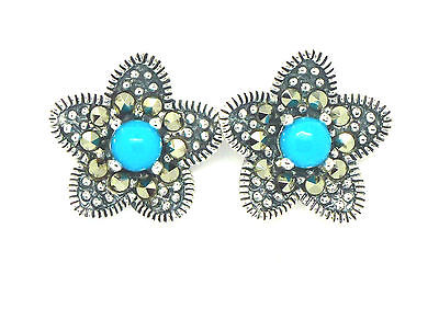 Sterling Silver 925 Marcasite and Turquoise Flower Stud Earrings