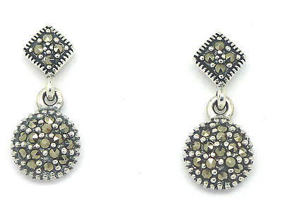 Sterling Silver 925 Marcasite Circular Stud Drop Earrings