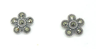 Sterling Silver 925 Marcasite  Flower Stud Earrings