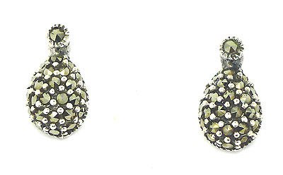 Sterling Silver 925 Marcasite Teardrop Stud Earrings
