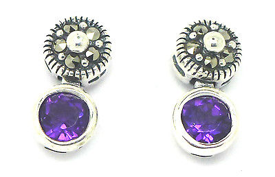 Sterling Silver 925 Real Stone and Marcasite Stud Earrings