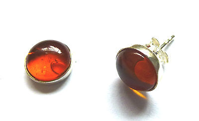 Sterling Silver 9mm round Amber Stud Earrings                             B58215