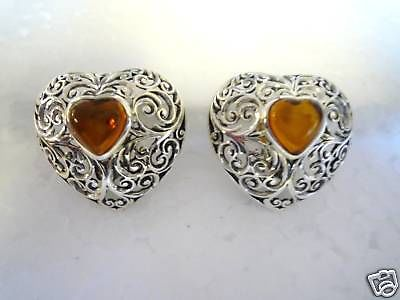 Sterling Silver and Amber Clip on Heart Earring