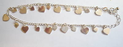 Sterling Silver Anklet with small and large heart drops                   B15292