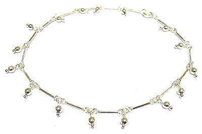 Sterling Silver Bar Link  Ankle Chain /Anklet with Bead Drops               5248