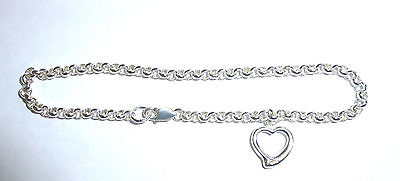 Sterling Silver Belcher Charm Bracelet with Cutout Heart Charm            A47208