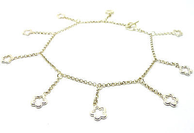 Sterling Silver Belcher Link  Ankle Chain /Anklet with Long Flower Drops   31826