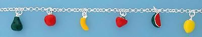 Sterling Silver Charm Bracelet with Enamelled Fruits                      B13888