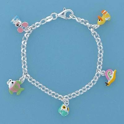 Sterling Silver Childs Charm Bracelet with Enamelled Animals              B13837