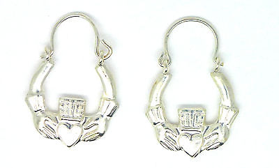 Sterling Silver Childs Claddagh / Sacred Heart Childs Creole Style Earrings 5565