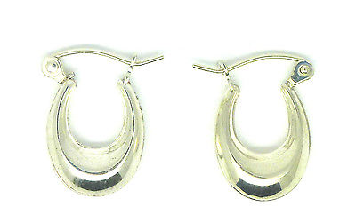 Sterling Silver Childs Oval Creole Style Earrings                          55570