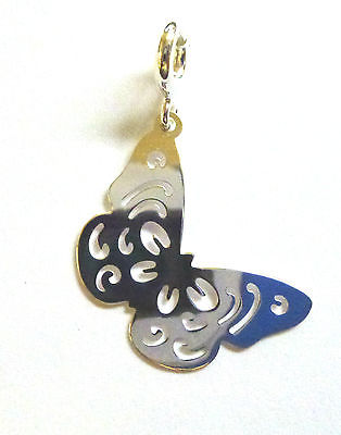 Sterling Silver Clip on Cutout Butterfly Charm                            B83384