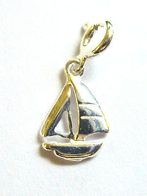 Sterling Silver Clip on Sail Boat Charm                                   B83383