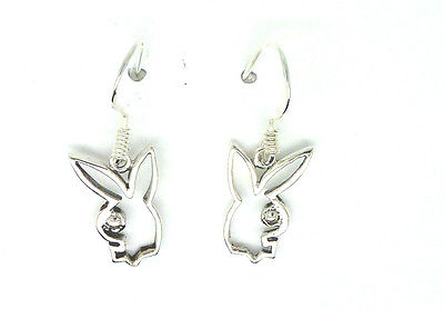 Sterling Silver Cutout Bunny Rabbit Drop Earrings