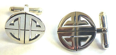 Sterling Silver Cutout Celtic Style Round Cufflinks                      B91970